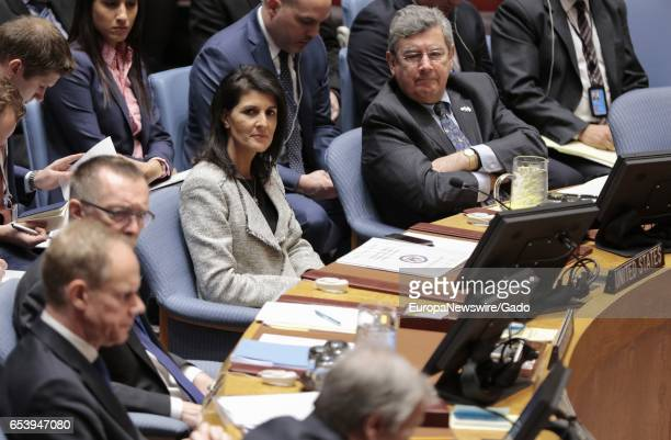 US Permanent Representative to UN Nikki Haley during the Security Council open debate on 'Trafficking in persons in conflict situations forced labour...
