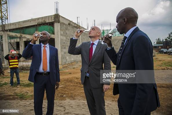 Permanent Secretary at the Ministry of Sports and culture Lt Col Patrice Rugambwa FIFA President Gianni Infantino and Rwandese Association Football...