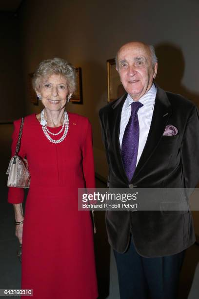 Permanent Secretary of the French Academy Helene Carrere d'Encausse and her husband Louis Carrere d'Encausse attend the Private View of 'Icones de...