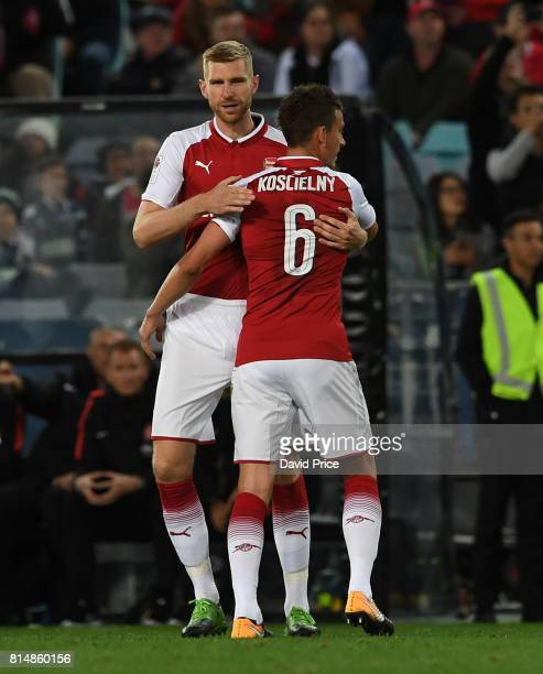 PerMertesacker and Laurent Koscielny of Arsenal during the match between the Western Sydney Wanderers and Arsenal FC at ANZ Stadium on July 15 2017...