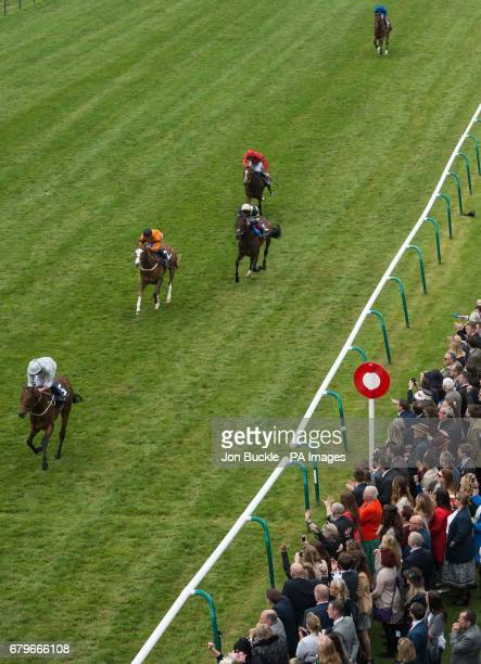 Permian ridden by Ryan Moore wins the Havana Gold Newmarket stakes ahead of Speedo Boy ridden by Sylvester De Sousa finishing second and Khalidi...