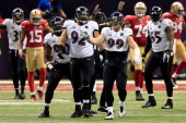 Pernell McPhee Haloti Ngata Paul Kruger and Terrell Suggs of the Baltimore Ravens react after the Ravens defense sacked Colin Kaepernick of the San...