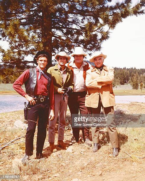 Pernell Roberts Michael Landon Dan Blocker and Lorne Greene in a publicity portrait issued for the US television series 'Bonanza' USA circa 1970 The...
