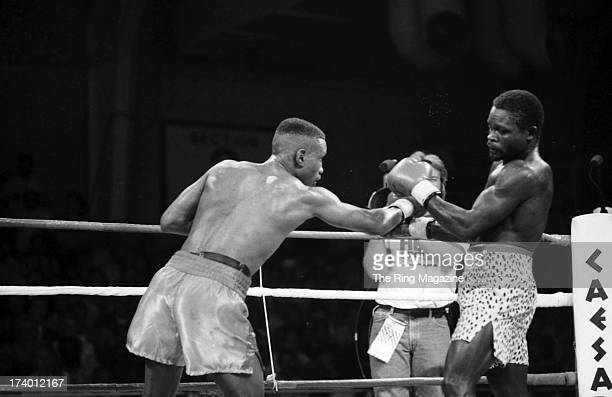 Pernell Whitaker throws a punch against Azumah Nelson during the fight at Caesars Palace in Las Vegas Nevada Pernell Whitaker won the WBC lightweight...