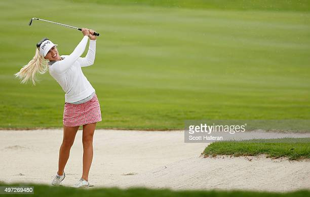 Pernilla Lindberg of Sweden hits a bunker shot on the first hole during the final round of the Lorena Ochoa Invitational Presented By Banamex at the...