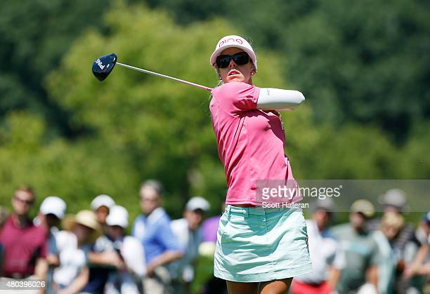 Pernilla Lindberg of Sweden hits her tee shot on the ninth hole during the third round of the US Women's Open at Lancaster Country Club on July 11...