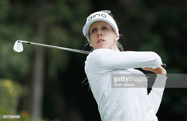 Pernilla Lindberg of Sweden hits her tee shot on the third hole during the final round of the Lorena Ochoa Invitational Presented By Banamex at the...