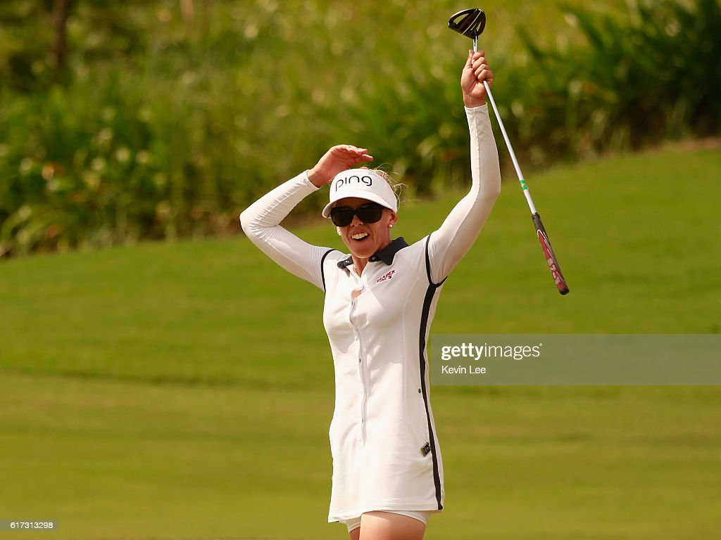 Pernilla Lindberg of Sweden reacts after her putt during the final round of Blue Bay LPGA on Day 4 on October 23, 2016 in Hainan Island, China.