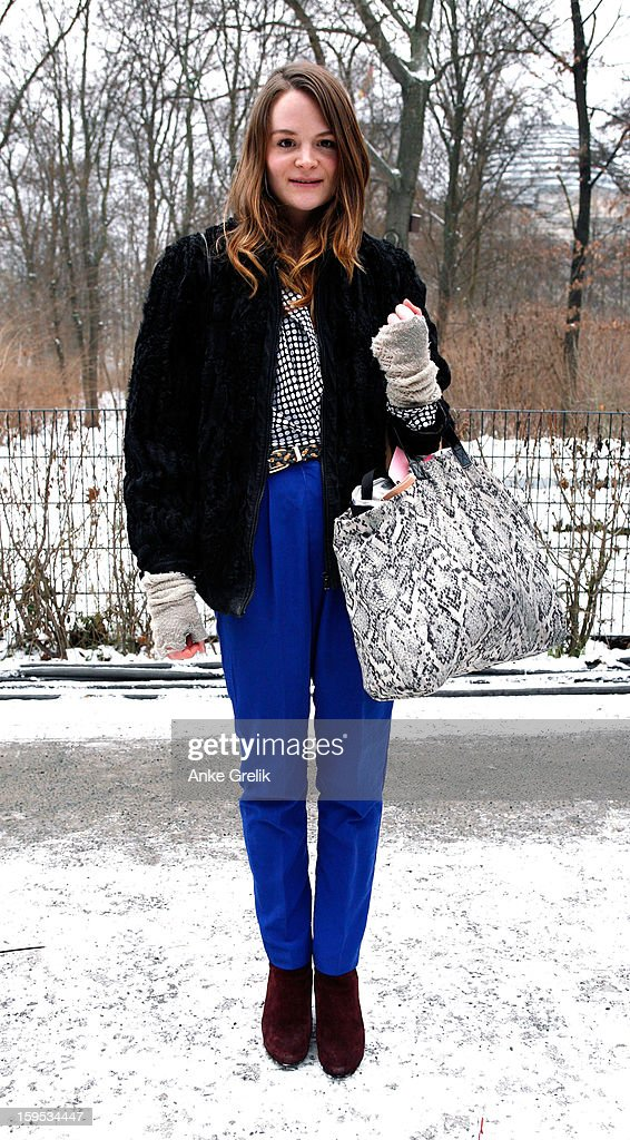 Pernille Hammershoj Madsen wearing American Apparel trousers attends Mercedes-Benz Fashion Week Autumn/Winter 2013/14 at venue on January 15, 2013 in Berlin, Germany.