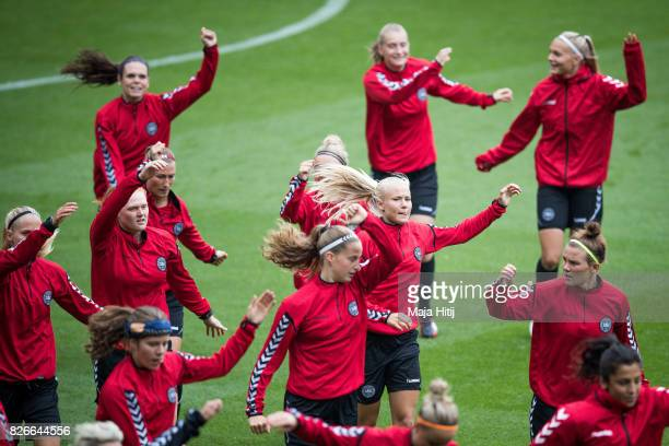 Pernille Harder of Denmark and the team warms up during a training prior UEFA Women's Euro 2017 Final against Netherlands at De Grolsch Veste Stadium...