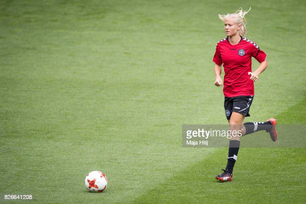 Pernille Harder of Denmark controls the ball during a training prior UEFA Women's Euro 2017 Final against Netherlands at De Grolsch Veste Stadium on...