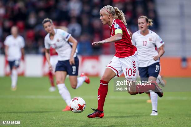 Pernille Harder of Denmark controls the ball during the Group A match between Norway and Denmark during the UEFA Women's Euro 2017 at Stadion De...
