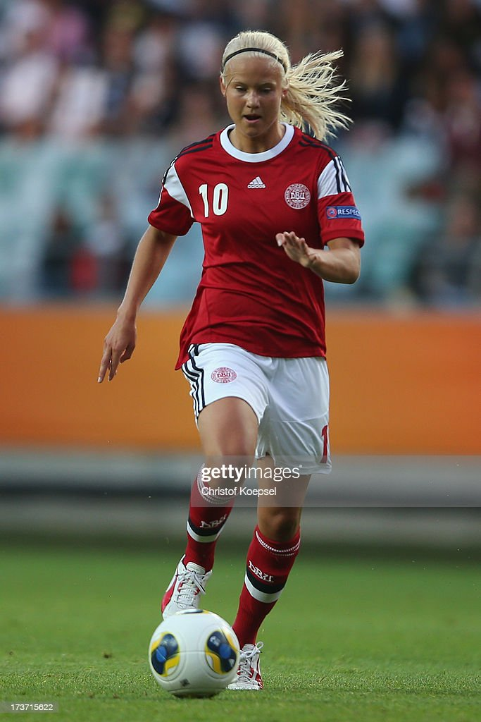 Pernille Harder of Denmark runs with the ball during the UEFA Women's EURO 2013 Group A match between Denmark and Finland at Gamla Ullevi Stadium on July 16, 2013 in Gothenburg, Sweden.