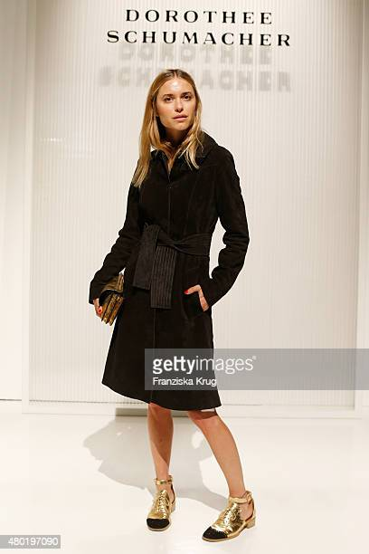 Pernille Teisbaek attends the Dorothee Schumacher show during the MercedesBenz Fashion Week Berlin Spring/Summer 2016 at Stage at me Collectors Room...