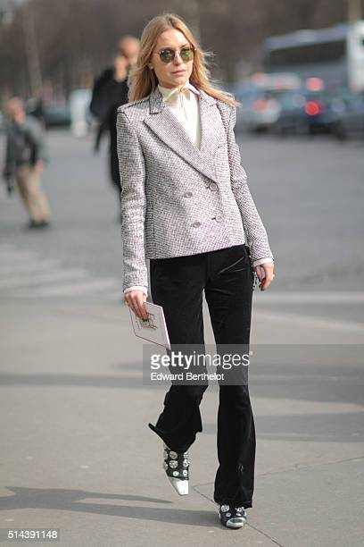 Pernille Teisbaek is seen after the Chanel show during Paris Fashion Week Womenswear Fall Winter 2016/2017 on March 8 2016 in Paris France