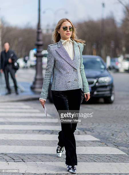 Pernille Teisbaek is wearing a silver Chanel blazer jacket and black velvet pants outside Chanel during the Paris Fashion Week Womenswear Fall/Winter...