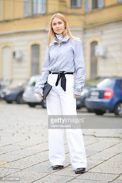 Pernille Teisbaek poses before the Diesel Black Gold show during the Milan Fashion Week Fall/Winter 2016/17 on February 26 2016 in Milan Italy