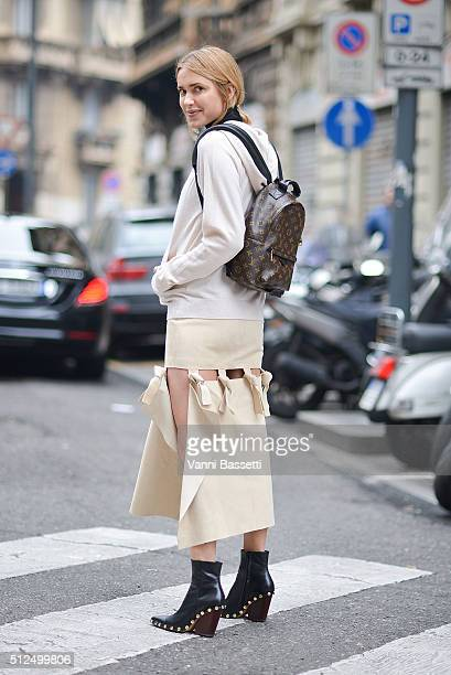 Pernille Teisbaek poses with a Louis Vuitton backpack before the Sportmax show during the Milan Fashion Week Fall/Winter 2016/17 on February 26 2016...