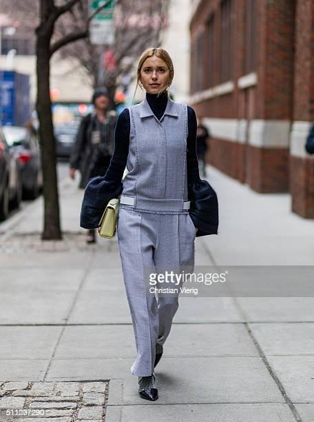 Pernille Teisbaek wearing a grey jumpsuit seen outside Boss during New York Fashion Week Women's Fall/Winter 2016 on February 17 2016 in New York City