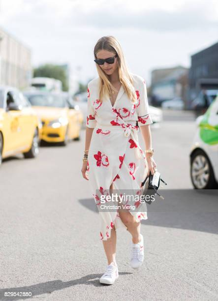 Pernille Teisbaek wearing dress outside Ganni on August 10 2017 in Copenhagen Denmark