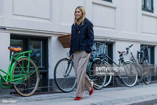 Pernille Teisbaek wearing Ganni during the Copenhagen Fashion Week Autumn/Winter 2016 on February 4 2016 in Copenhagen Denmark