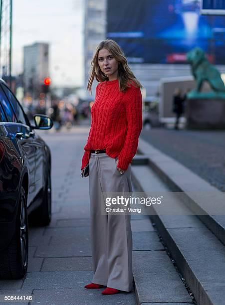 Pernille Teisbaek wearing Ganni outside By Malene Birger during the Copenhagen Fashion Week Autumn/Winter 2016 on February 4 2016 in Copenhagen...