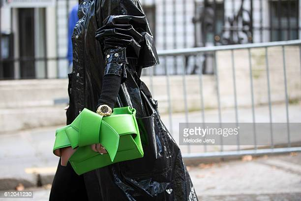 Pernille Teisbaek with an green Acne Studios bag and Isabel Marant coat outside the Acne Studios show on October 1 2016 in Paris France
