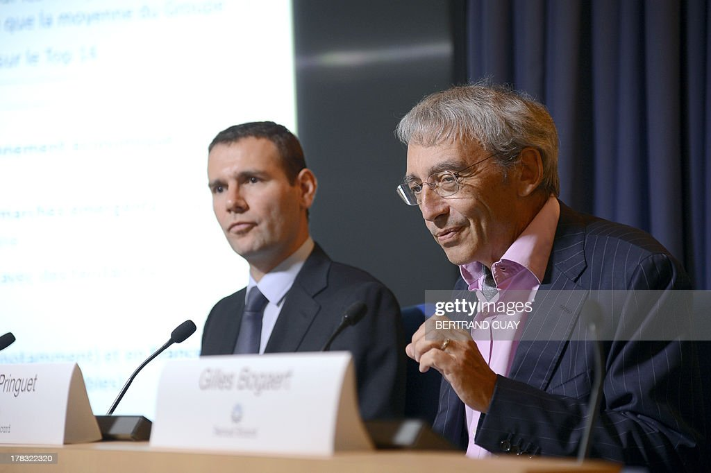 Pernod Ricard group's vice-President and general director Pierre Pringuet (R) and the group's managing director Alexandre Ricard give a press conference to present the results for the 2012-2013 financial year, on August 29, 2013 in Paris. Pernod Ricard, the world No. 2 maker of wine and distilled spirits, on Thursday met its targets by posting a 3.0-percent rise in full-year net profits.