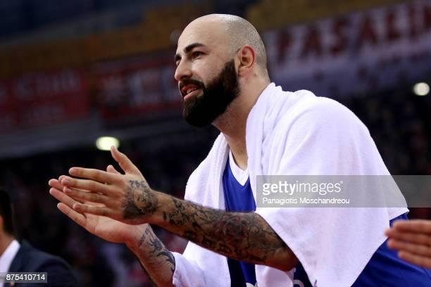Pero Antic #12 of Crvena Zvezda mts Belgrade react during the 2017/2018 Turkish Airlines EuroLeague Regular Season Round 8 game between Olympiacos...