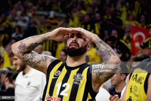Pero Antic #12 of Fenerbahce Istanbul at the end of the Championship Game 2017 Turkish Airlines EuroLeague Final Four between Fenerbahce Istanbul v...