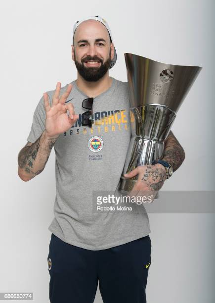 Pero Antic #12 of Fenerbahce Istanbul pose with Trophy duringTurkish Airlines EuroLeague Basketball Final Four istanbul 2017 Champion Photo Session...