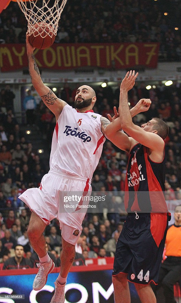 Pero Antic, #6 of Olympiacos Piraeus in action during the 2012-2013 Turkish Airlines Euroleague Top 16 Date 8 between Olympiacos Piraeus v Caja Laboral Vitoria at Peace and Friendship Stadium on February 22, 2013 in Athens, Greece.