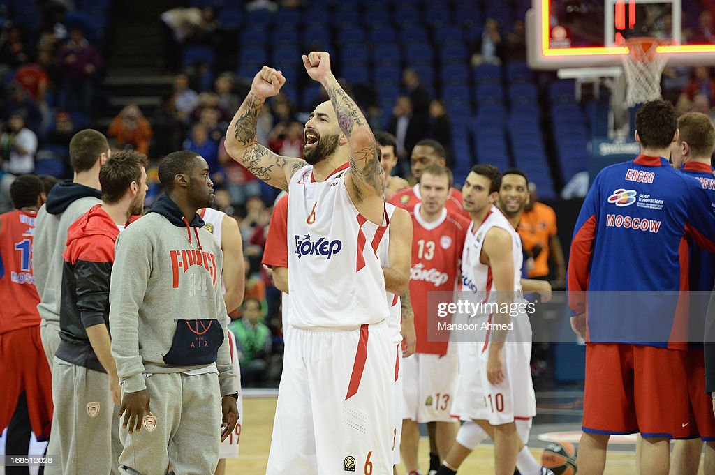 Pero Antic, #6 of Olympiacos Piraeus rejoices with the fans as his side beat CSKA Moscow in the Semifinal A game between CSKA Moscow v Olympiacos Piraeus at O2 Arena on May 10, 2013 in London, United Kingdom.