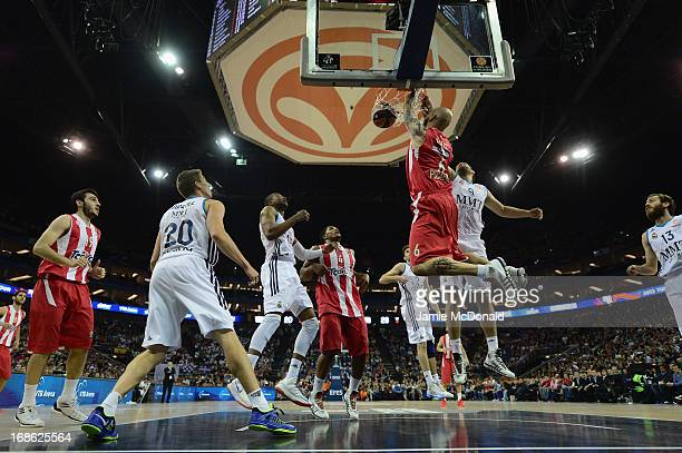 Pero Antic of Olympiacos Piraeus scores a basket during the Turkish Airlines EuroLeague Final Four final between Olympiacos Piraeus and Real Madrid...