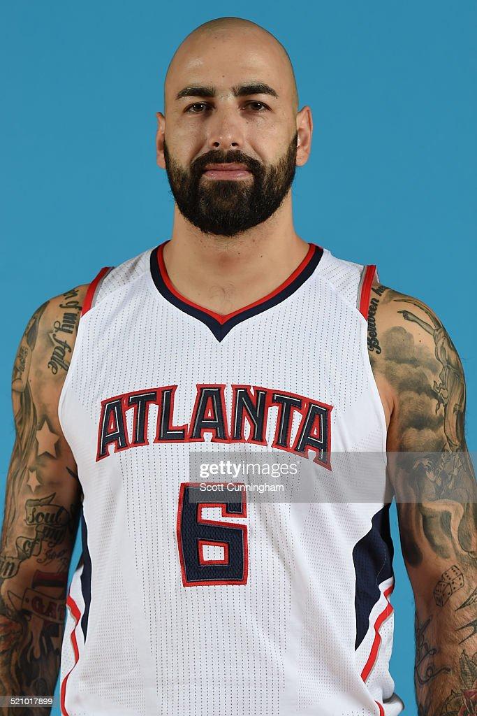 Pero Antic #6 of the Atlanta Hawks poses for a photograph during the Atlanta Hawks Media Day on September 29, 2014 at Philips Arena in Atlanta, Georgia.