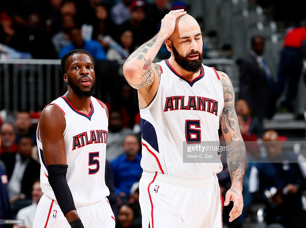 Pero Antic #6 of the Atlanta Hawks reacts after being called for an offensive foul against the Toronto Raptors at Philips Arena on February 20, 2015 in Atlanta, Georgia.