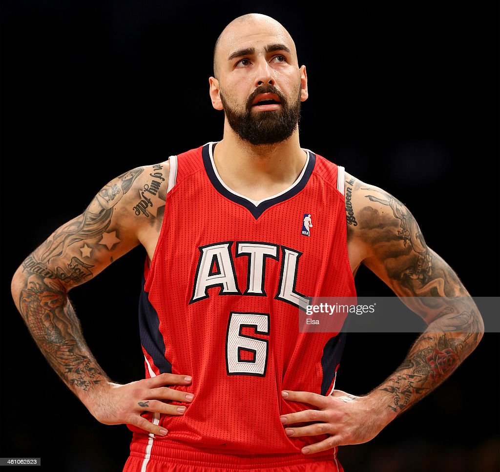 Pero Antic #6 of the Atlanta Hawks reacts after he is called for a foul in the second half against the Brooklyn Nets at the Barclays Center on January 6, 2014 in the Brooklyn borough of New York City.The Brooklyn Nets defeated the Atlanta Hawks 91-86.