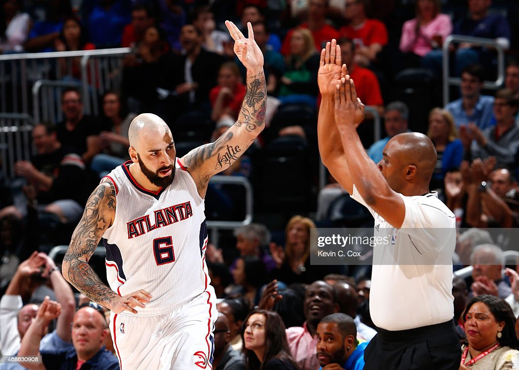 Pero Antic #6 of the Atlanta Hawks reacts after hitting a three-point basket against the Brooklyn Nets at Philips Arena on April 4, 2015 in Atlanta, Georgia.