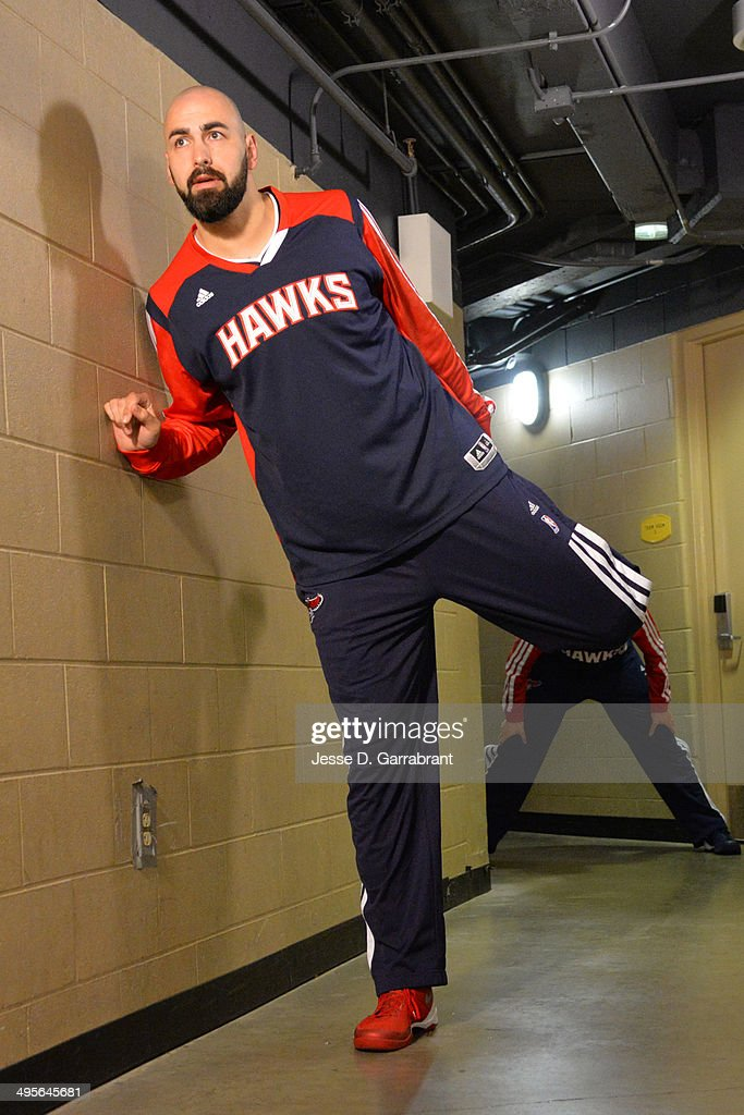 Pero Antic #6 of the Atlanta Hawks stretches before Game Seven of the Eastern Conference Quarterfinals against the Indiana Pacers during the 2014 NBA Playoffs on May 3, 2014 at Bankers Life Fieldhouse in Indianapolis, Indiana.