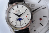 A perpetual calendar wristwatch with moon phases and leapyear by Swiss watchmaker Patek Philippe is seen during an auction preview on April 30 2013...