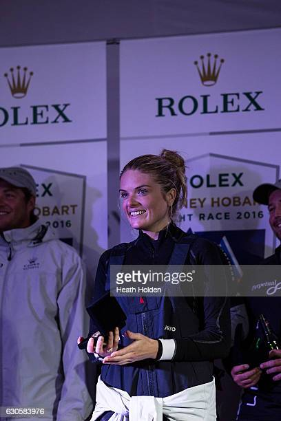 Perpetual LOYAL crew member Erin Molan at presentations after winning the 2016 Sydney To Hobart on December 28 2016 in Hobart Australia