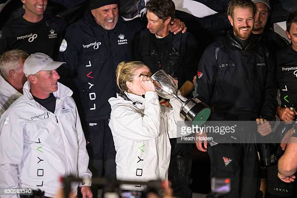 Perpetual LOYAL crew member Erin Molan celebrates with sponsors and crew members at Constitution Dock after winning the 2016 Sydney To Hobart on...