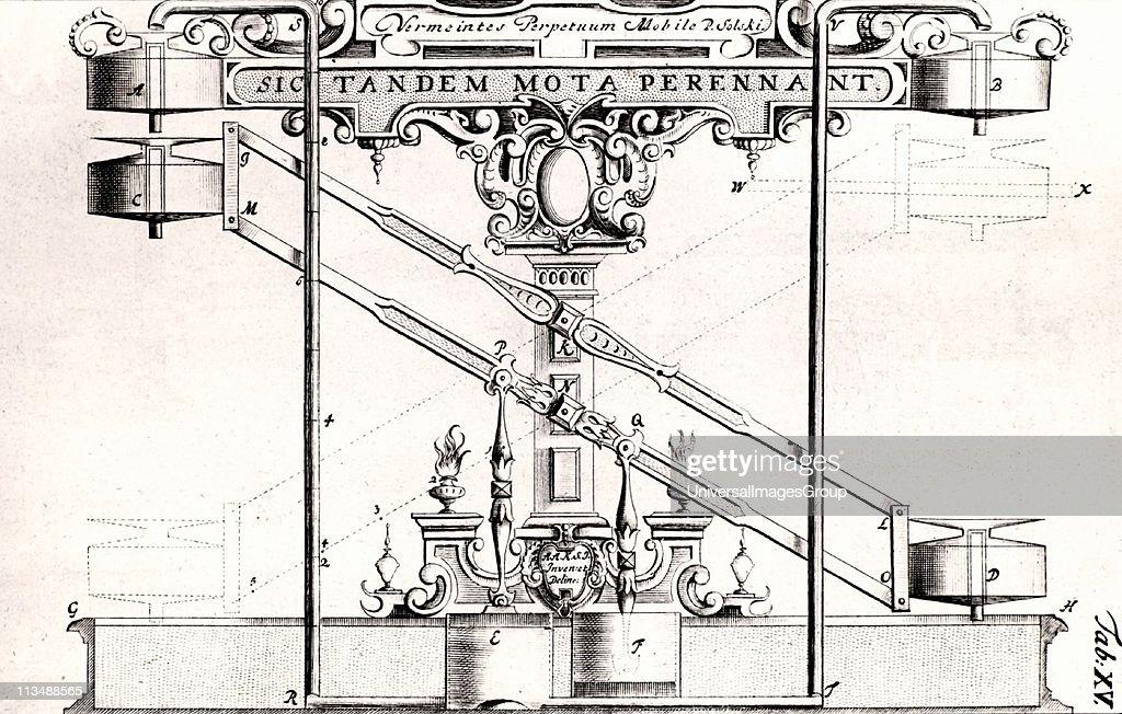 Perpetual motion machine described in about 1664 by Ulrich von Cranach ...