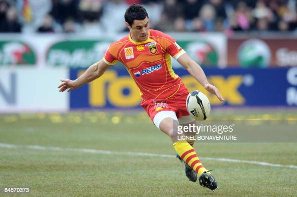 Perpignan's fly half Dan Carter kicks the ball during the French Top14 rugby union match Stade francais vs Perpignan at the Stade de France on...
