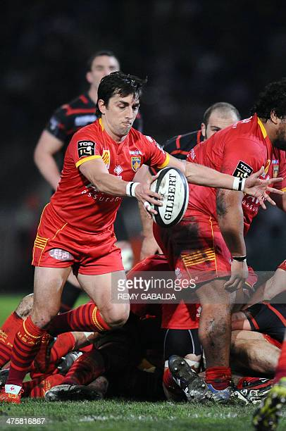 Perpignan's scrum half Nicolas Durand kicks the ball during the French Top 14 rugby union match between Stade Toulousain and Perpignan at the Ernest...