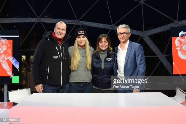 JB Perrette President and CEO Discovery Networks International Lindsey Vonn Michelle Russo and Jonathan Edwards pose during a visit to the Eurosport...