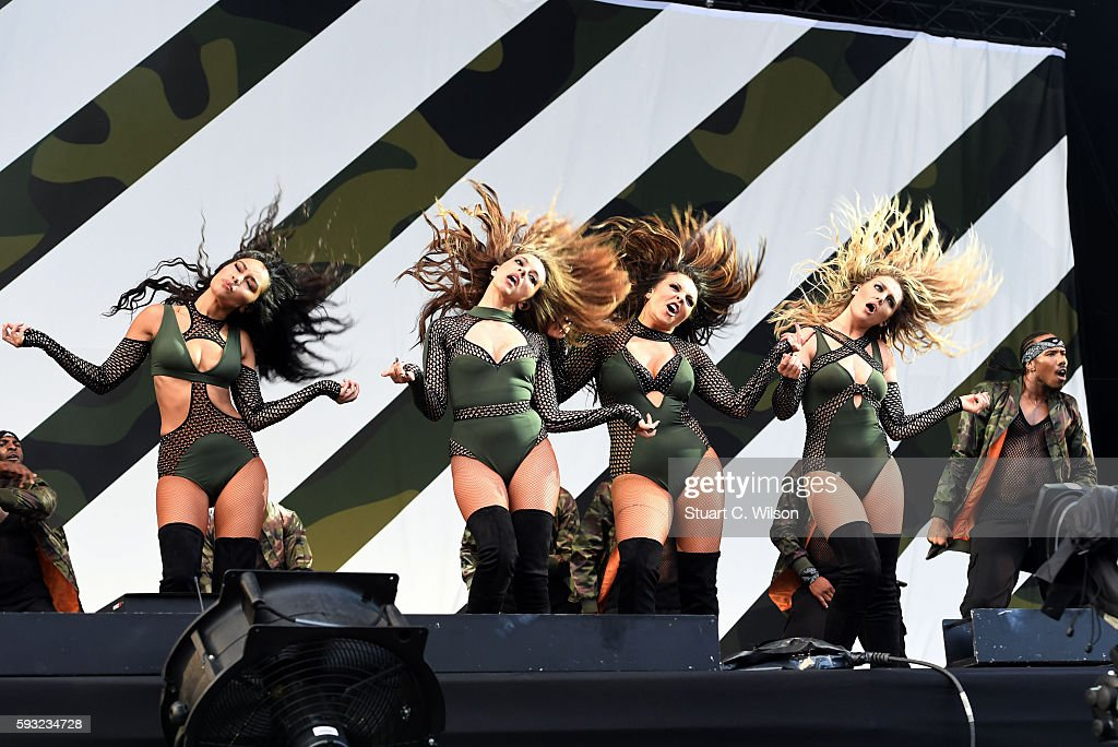 Perri Edwards Jesy Nelson Jade Thirlwall and LeighAnne Pinnock of 'Little Mix' perform during the V Festival at Hylands Park on August 21 2016 in...