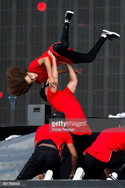 Perri Kiely of Diversity performs on stage at British Summer Time Festival at Hyde Park on July 6 2014 in London United Kingdom