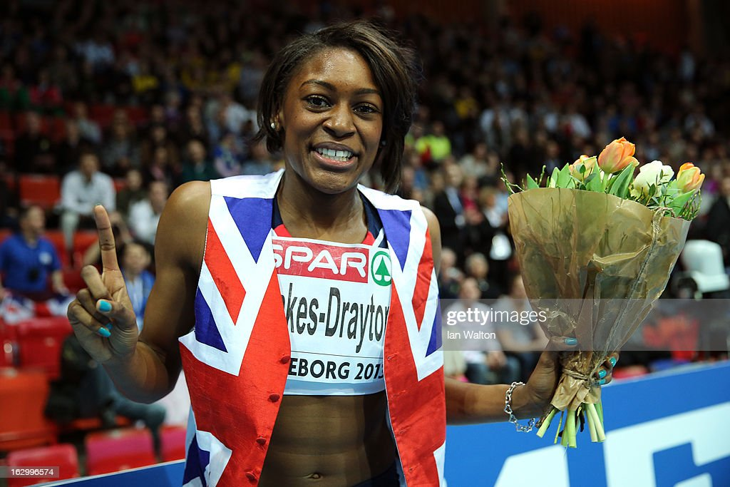 <a gi-track='captionPersonalityLinkClicked' href=/galleries/search?phrase=Perri+Shakes-Drayton&family=editorial&specificpeople=4542235 ng-click='$event.stopPropagation()'>Perri Shakes-Drayton</a> of Great Britain and Northern Ireland celebrates winning gold in the Women's 400m Final during day three of European Indoor Athletics at Scandinavium on March 3, 2013 in Gothenburg, Sweden.