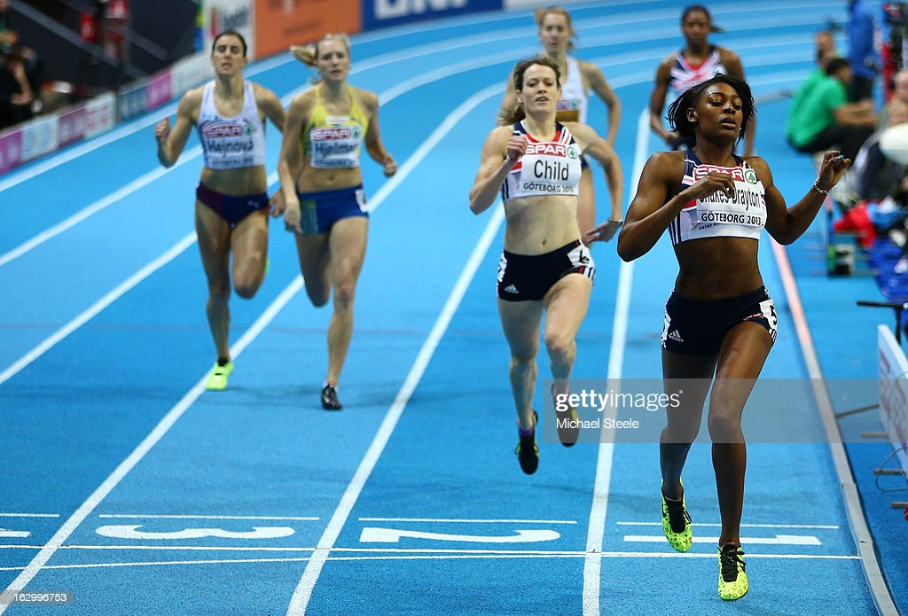 Perri Shakes-Drayton of Great Britain and Northern Ireland crosses the line to win gold ahead of silver medalist Eilidh Child of Great Britain and Northern Ireland in the Women's 400m Final during day three of European Indoor Athletics at Scandinavium on March 3, 2013 in Gothenburg, Sweden.
